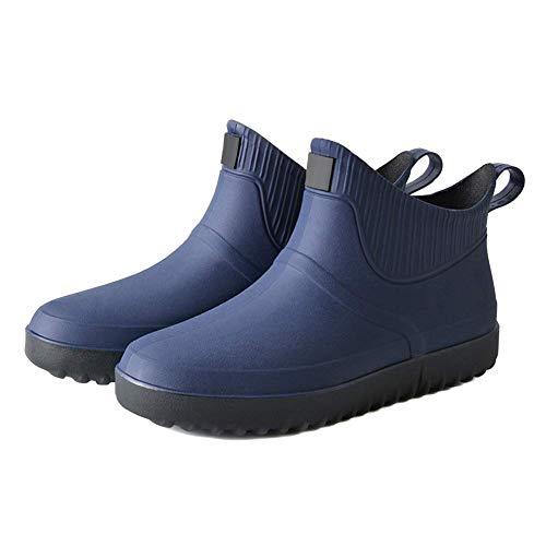 iSunday Hombre Goma Lluvia Zapatos sin Cordones Impermeable Tacón bajo Tubo PVC Lluvia Botas Trabajo - Azul Oscuro, 43