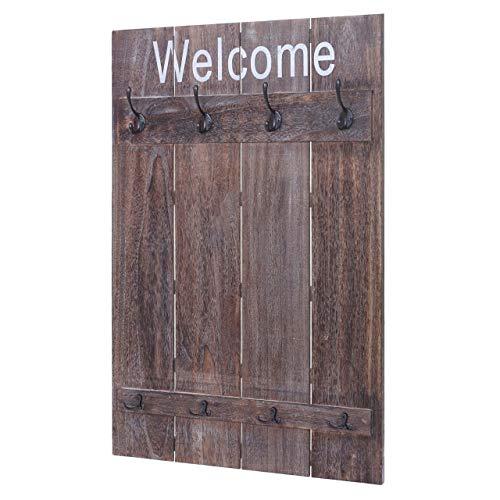 Mendler Wandgarderobe HWC-C89 Welcome, Garderobe Garderobenpaneel, Shabby-Look Vintage, 91x60cm - braun, Shabby