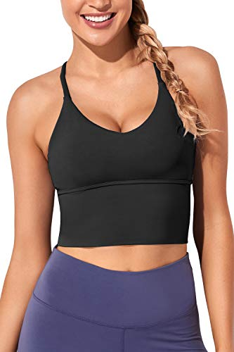 Women Sports Bras Longline Fitness Crop Tops Tank Gym Camisole Yoga Workout Running Shirts Black