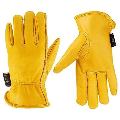 KIM YUAN Leather Work Gloves for Gardening/Cutting/Construction/Farm/Motorcycle, Men & Women, with Elastic Wrist (XXL)