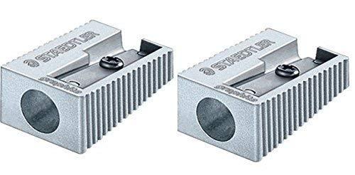 Staedtler Single Hole Quality Aluminium Pencil Sharpener X 2