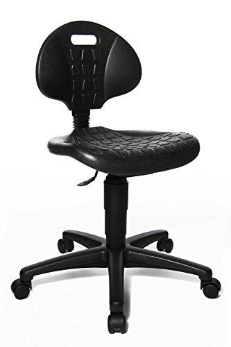 Topstar TEC, Arbeitsdrehstuhl, Arbeitshocker, Rollhocker, Werkstatthocker, mit höhenverstellbarer Rückenlehne & Sitzhöhe, schwarz