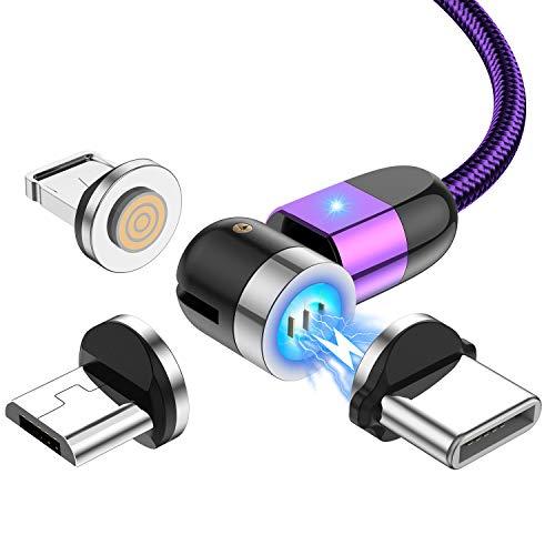 Horen Cable de carga Magnético, 3 A, carga rápida, cargador de teléfono magnético, de nailon trenzado, compatible con tipo C, Micro USB, dispositivos iOS (1ft, 3ft, 6ft)