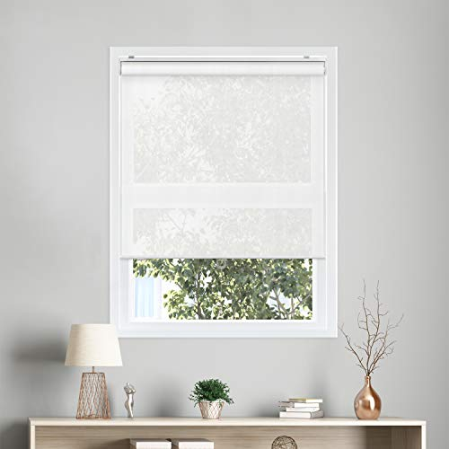 CHICOLOGY Cordless Roller Shades Snap-N'-Glide Sun Filtering Fabric Perfect for Living Room/Bedroom/Nursery/Office and More, 27' W X 72' H, View-Tiful White (Solar)