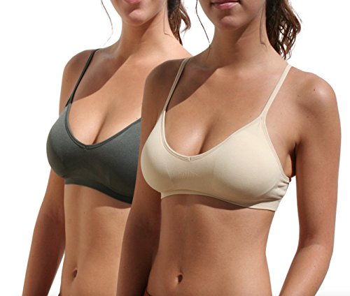 Blue 55 Women's Sexy Everyday Basic Deep V-Neck Padded Bralette (M/L, 2 Pack: Charcoal & Beige)