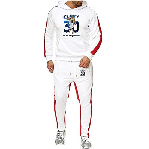 Heren 2 stuks Sets Golden State Warriors Curry No. 3 Trainingspak Heren Herfst Winter met capuchon + Koord Pants Man Sweaters Basketball Training Kleding,White,L