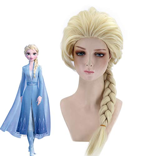 Women's Film Rollen Princess Fancy Dress Cosplay Pruik, Blond Braid Wig, Costume Cosplay for vrouwen en meisjes synthetische pruik