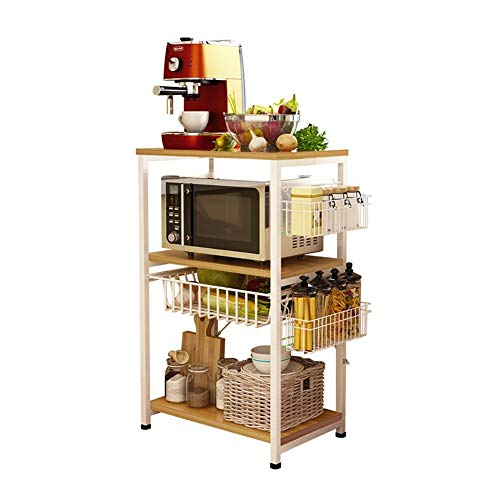 Kitchen Spice Rack Floor Rack, eenvoudige badkamer Keuken Storage Rack, met Storage Basket Ladder Shelf, Anti-roest, lange-termijn gebruik van Home Storage Rack