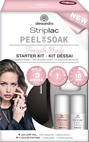 alessandro Striplac Peel of Soak Starter Kit – Perfecte French Nails in 15 minuten – 1x LED-nagellak set inclusief lamp, Striplac & Tip Whitener – Kleur: French Rosé