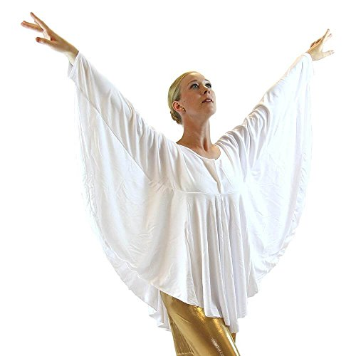 Danzcue Womens Angel Wing Drapey Pullover Dance Top, White, L/XL