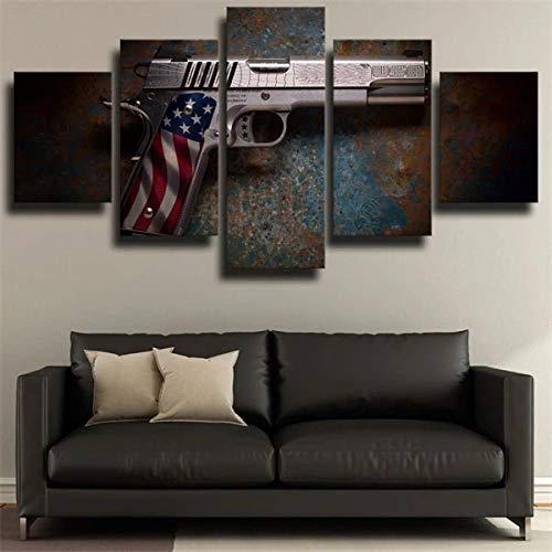 Impresión En Lienzo 5 Piezas Cuadro sobre Lienzo Pistola Cabot Gun Us Flag Imágenes XXL 150X80Cm Oficina Sala De Estar O Dormitorio Decoración del Hogar Arte De Pared