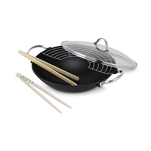BEKA en forme de lhassa wok à revêtement anti-adhésif avec couvercle en fonte avec accessoires noir ronde plaque vitrocéramique, électrique, gaz induction 30 cm