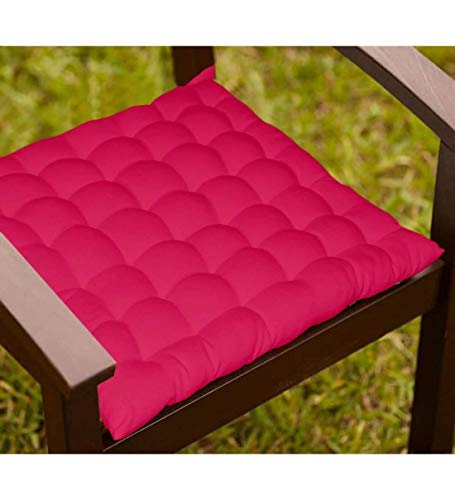 Light Blue Cotton Dining Chair Cushion with 36 Knots & 4 tie Backs. (Pink)