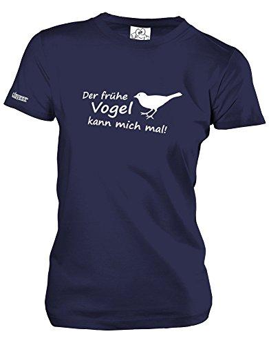 DER FRÜHE Vogel KANN Mich MAL - Style Funshirt - Damen T-Shirt Navy Gr. L