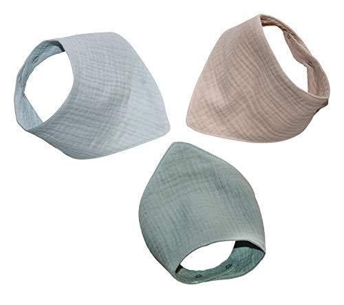 Jonakid 3 Musselinhalstücher aus 100% Baumwolle Dreieckstuch Spucktuch Sabberlätzchen Halstuch 0-18 Monate (hellblau)