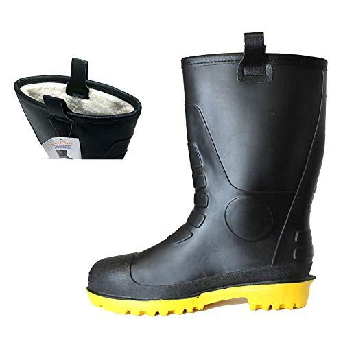 L&M Mens Waterproof Fur Interior Rubber Sole Winter Snow Rain Boots Insulated (10)