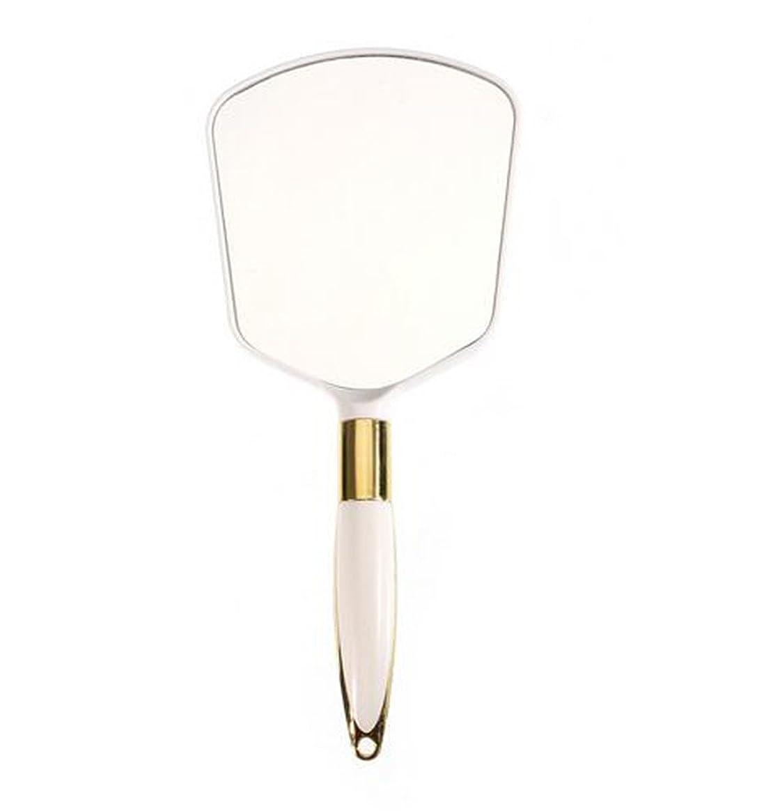 胴体ヘクタール花瓶かわいいプラスチックヴィンテージ手鏡化粧化粧台ミラー長方形ハンドホールド化粧鏡、ギフト用ハンドル付き、スクエアホワイト