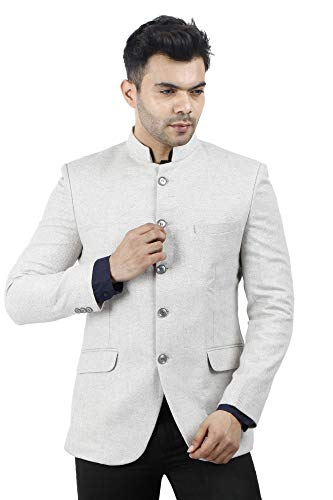 Mens Casual and Festive Off White Tweed Blazer Jacket