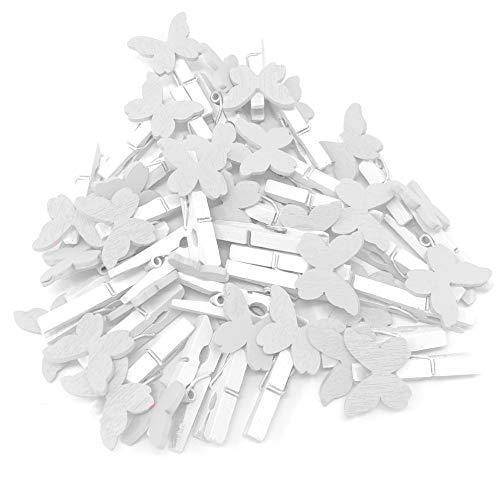 30mm weiß Wäscheklammer mit 20mm weiß Holz Butterflies Craft für Shabby Chic Vintage Hochzeit und Craft weiß