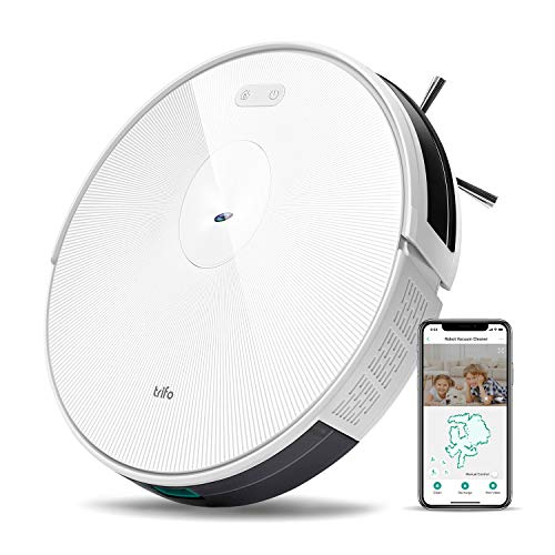 Trifo H6 Robot Vacuum Cleaner Wi-Fi Connected Camera, 1800Pa Super-Strong Suction, Ultra Slim, Self-Charging Robotic Vacuum for Cleaning Pet Hair, Hard Floors, Carpets, Remote App Control, White