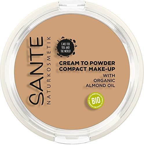 Sante Naturkosmetik, Compact Makeup Dunklerer Hautton Kompaktpuder für mattierende Deckkraft Mit Spiegel Quaste Vegan, 03 Cool Beige, 9 g