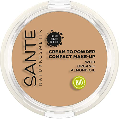 Sante Naturkosmetik NaturkosmetikNaturkosmetik Compact Make-up 03 Cool Beige, Dunklerer Hautton, Hohe mattierende Deckkraft, Mit Spiegel & Quaste, Vegan, 9g