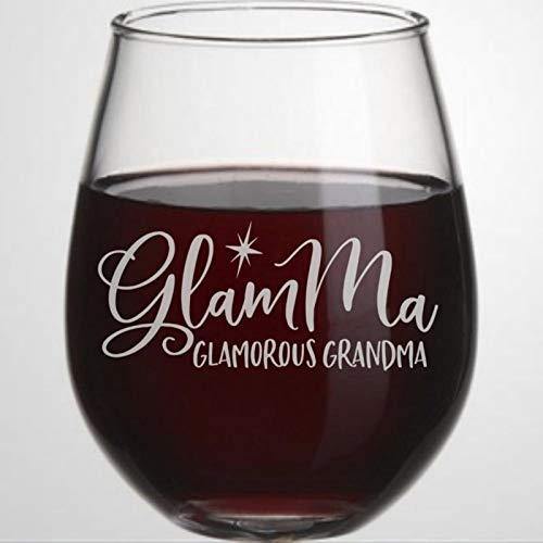 Glam,Ma,Glamma Verre à vin sans pied en cristal gravé Verre à liqueur Parfait pour père, maman, garçon ou petite amie