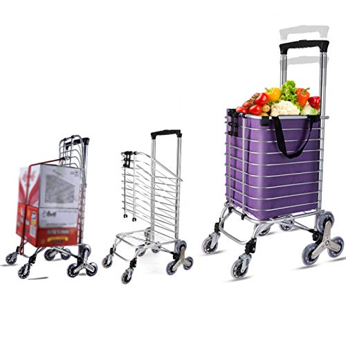 QXTT Folding Shopping Cart Portable Grocery Utility Lightweight Stair Climbing Cart With Rolling Swivel Wheels And Removable Waterproof Oxford Removable Bag