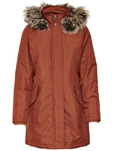 ONLY Damen Winter Mantel onlKaty Parka Jacke Fellkapuze, Größe:L, Farbe:Cognac