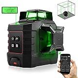 Nivel láser con Bluetooth, ZOTO Dispositivo de Laser Línea Autonivelante 40M con Pantalla LCD, de haz verde Ajustable 3X360° con Batería Recargable de 4000mAh, Base Pivotante y soporte de Techo