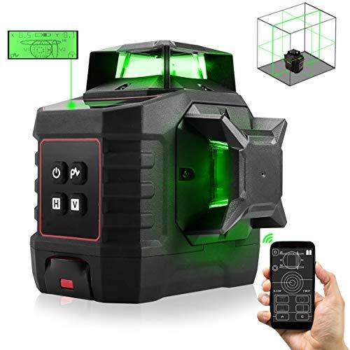 3 x 360 Kreuzlinienlaser Grün mit Bluetooth, ZOTO 40M Selbstnivellierendes Laser Level mit LCD-Bildschirm, Pulsmodus, 4000mAh Wiederaufladbar Akku, Schwenkbarer Basis und Deckenstände