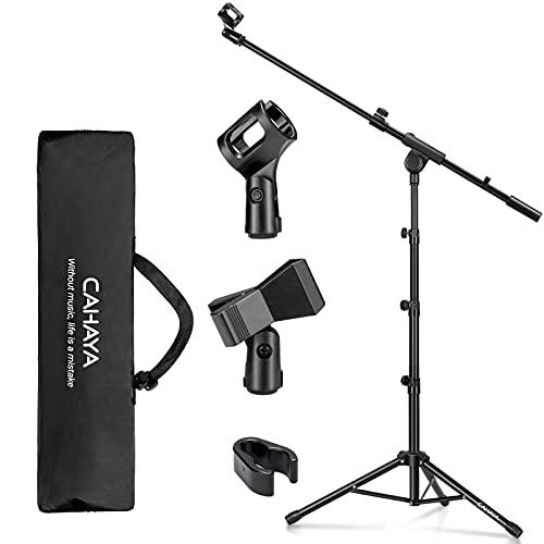 CAHAYA Pied de Microphone avec Perche, Pied de Micro au Sol Trépied en Métal avec une Housse de Transport et Deux Clips de Microphone Réglable et Pliable Noir