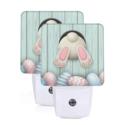 Set of 2 Night Lights Funny Easter Bunny Cute Rabbit Eggs Auto Sensor LED DusktoDawn Night Lamp Plugin Indoor Home Decorative for Adult