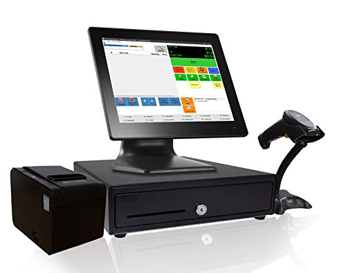 Retail Point of Sale System - Includes Touchscreen PC, POS Software (CRE Monthly), Receipt Printer, Barcode Scanner, Cash Drawer, and LCD Customer Display