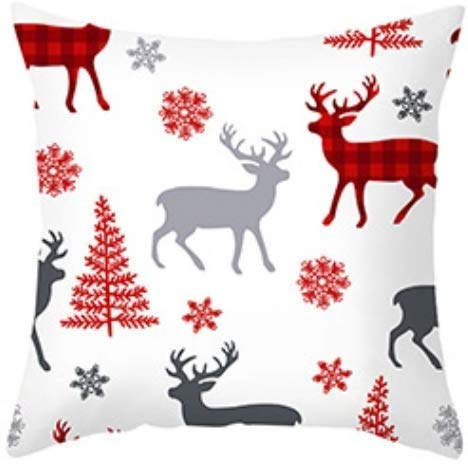 Christmas Decoration Christmas Cushion Cover 45x45 cm Pillowcase Sofa Cushions Pillow Cases Cotton Linen Pillow Covers for Home Bedroom Living Room Cushion Cover Home Decor (Red Reindeer)