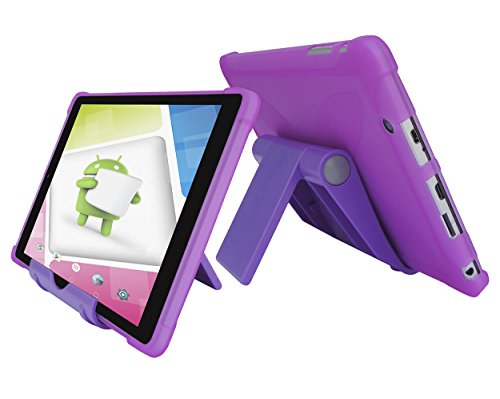 iShoppingdeals TPU Case + Adjustable Tablet Stand -Ultra–Slim TPU Rubber Gel Cover with Textured, Non-Slip Grip for Nextbook Ares 8A (NX16A8116S) Android Tablet 2017 Release (Purple)
