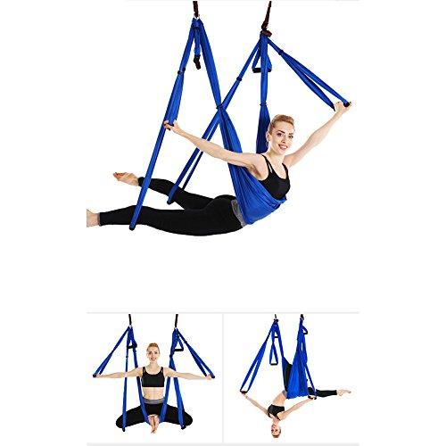 Juego de hamaca de yoga para ejercicios de inversión de yoga antigravedad, azul real