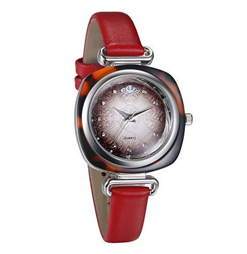 JewelryWe Damenuhr Einzigartige Analog Quarz Armbanduhr 30M wasserdichte Rechteckige Beiläufige Uhr mit Resin Gehäuse und Echtleder Leder Armband für Frauen Mädchen Rot