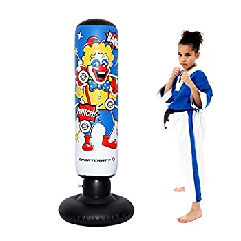 Sportcraft Clown Electronic Inflatable Punching Tower Bag Freestanding Children Fitness Play Adults De-Stress Boxing Target Bag