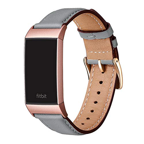 FENGLIN Armband Kompatibel mit Fitbit Charge 3 Armband/Charge 4 Armband Leder, Klassisches Verstellbares Ersatzarmband für Damen, Herren (S,Grau/Rosegold)
