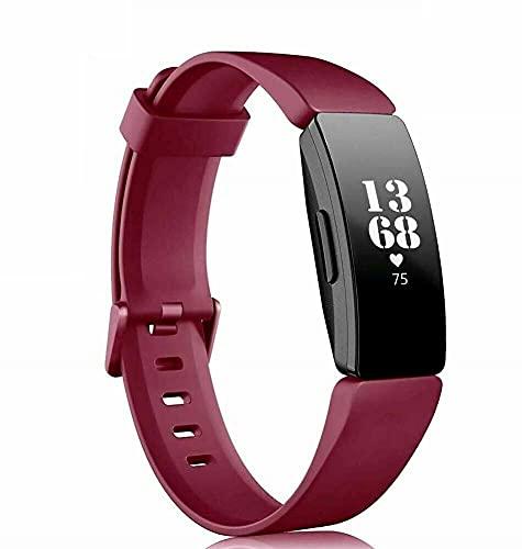 Compatible con Fitbit Inspire/HR Ace 2 de silicona de repuesto de correa deportiva (color: rojo vino)