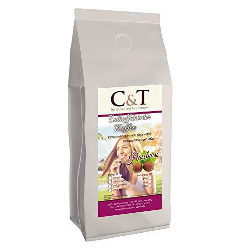 Kaffee mit Geschmack, ohne Koffein! Entkoffeinierter Kaffee mit natürlichen Aromen: Haselnuss (GEMAHLEN) (1000 g)