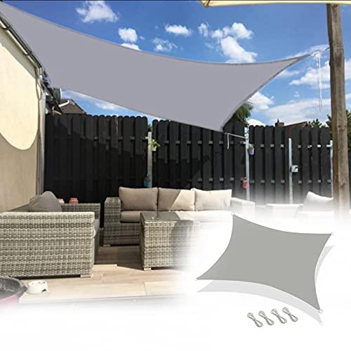 Los 5.5x5.6m Toldo de Lluvia,PéRgola de ProteccióN Solar,Bloqueo UV Carpa para Camping,para Exterior JardíN Terraza ReunióN,con Poste de Hierro y Cuerda de Viento,Gris