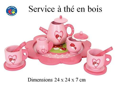 Service à thé complet en bois coloré - idéal pour jouer à la dinette