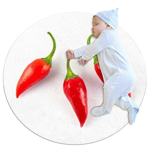 Wetia Alfombra Redonda Chile Rojo Felpudo para Dormitorio, Sala de Estar, Guardería Alfombrilla de Decoración para Silla, Taburete o Sillón 100x100cm