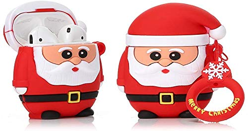 Senhomtog Case Compatible with Airpods Cute Case Cover Pearl Cute Case Cover Airpods Accessories Airpods Headphone Protection Cover (Red Father Christmas)