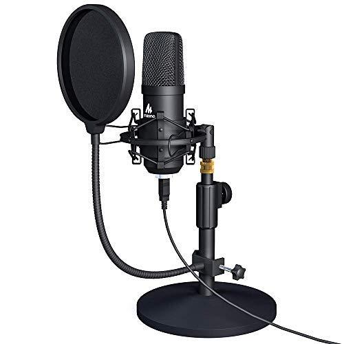 Kit de micrófono USB 192KHZ/24BIT MAONO AU-A04T Condensador de PC Podcast Streaming Micrófono cardioide Plug & Play para ordenador, YouTube, grabación de juegos