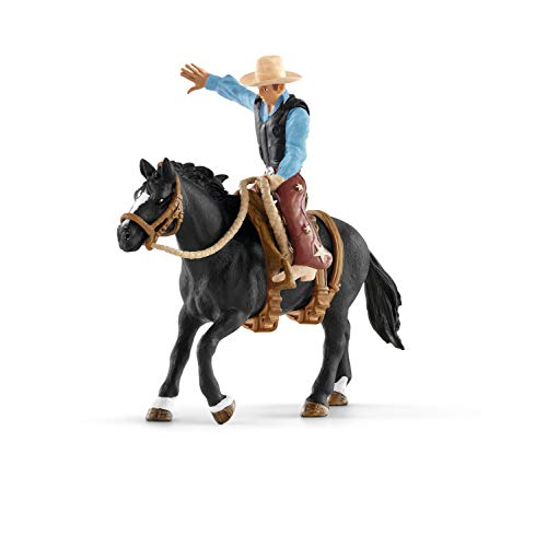 SCHLEICH Farm World, Animal Toys for Girls and Boys Ages 3-8, Saddle Bronc Riding with Cowboy