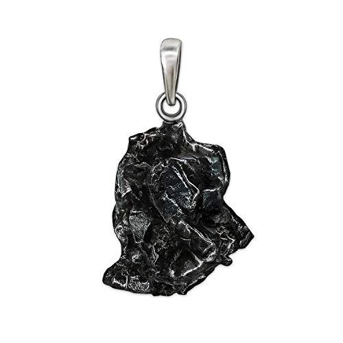 CLEVER SCHMUCK Anhänger Meteorit ECHTE STERNSCHNUPPE mit 925er Silber-Schlaufe und Zertifikat