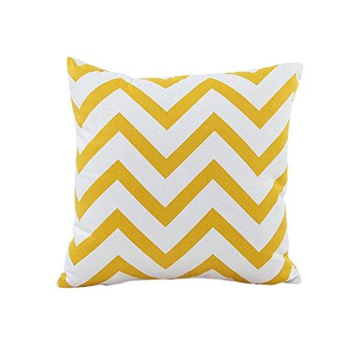 LHWY - Federa copricuscino decorativa, adatta per letto, divano o auto con decoro ondulato Yellow